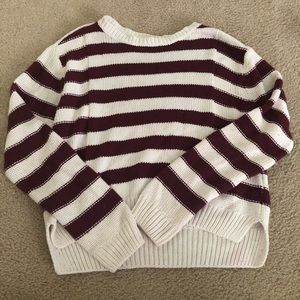 Maroon and cream forever 21 knitted sweater